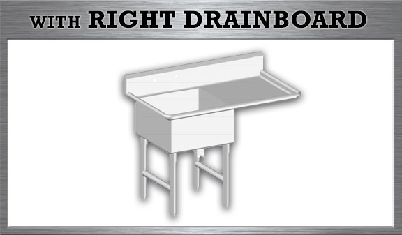 One Tub Sink with Right Drainboard